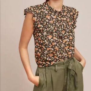 Gold Thread Floral Blouse- Anthropologie